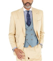tayion collection men's classic-fit solid tan suit separates jacket