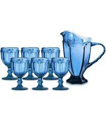 jarra 1l + 6 taã§as para ãgua libã©lula azul - incolor - dafiti