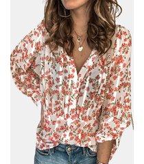 camicetta casual da donna a maniche lunghe con stampa floreale pieghettata