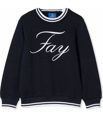 fay dark blue cotton sweatshirt