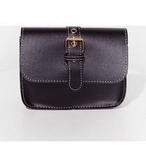 womens want buck-le off faux leather crossbody bag - black