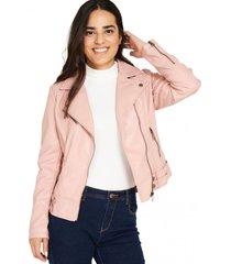chaqueta ecocuero estilo biker rosado nicopoly