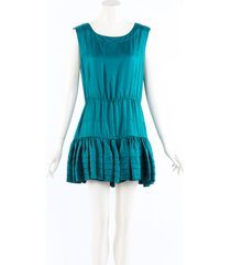 rochas blue silk ruffle tiered mini dress blue sz: s