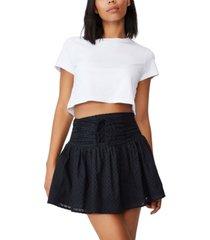 women's woven tie front mini skirt