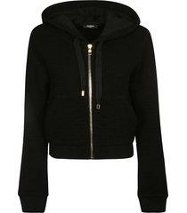 balmain cropped length zip hoodie