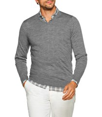men's suitsupply slim fit v-neck merino wool sweater, size xx-large - grey