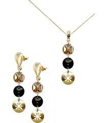 conjunto amparo dorado con swarovski joyas montero