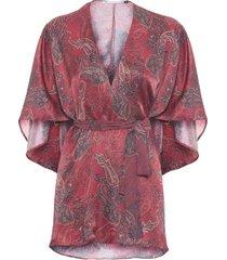 kimono paisley hype beachwear - vinho