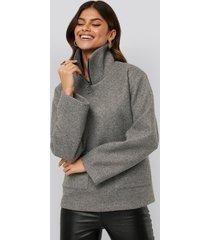 afj x na-kd felted pocket jacket - grey