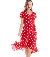 vestido envolvente lunares rojo nicopoly