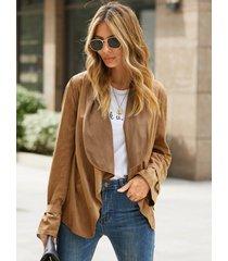 chaqueta de manga larga con cuello de solapa y gemelos cuadrados de gamuza yoins