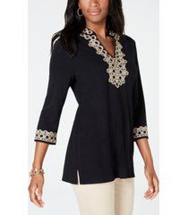 charter club petite 3/4-sleeve textured tunic, created for macy's