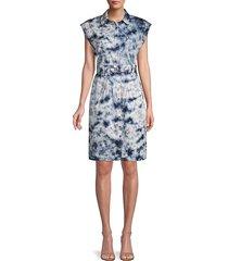 rebecca taylor women's sleeveless tie-dye belted dress - navy - size m