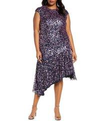plus size women's js collections multicolor sequin asymmetrical cocktail dress