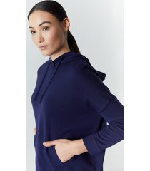 natori kyoto textured knit hoodie, women's, cotton, size l