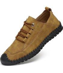uomini di grandi dimensioni cucitura a mano suola morbida antiscivolo scarpe in pelle casual