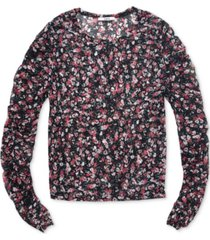 bar iii floral-print fine-mesh top, created for macy's