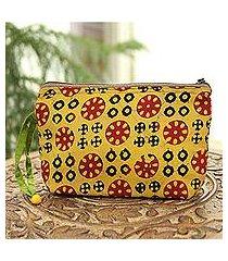 batik cotton cosmetic bag, 'creative beauty in amber' (india)