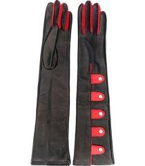 manokhi press stud gloves - black