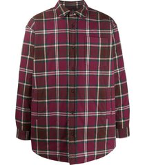 acne studios check-pattern quilted shirt jacket - red