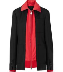burberry track top detail wool twill tailored jacket - black