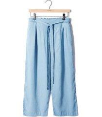 pantalón culotte tencel color siete para mujer - azul