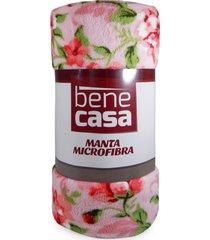 manta microfibra queen - bene casa - cristal - rosa - dafiti