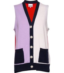 cashmere knit vest-indoor multi/patroon ganni