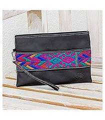cotton accent leather wristlet, 'colorful night' (guatemala)