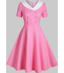 shawl collar polka dot 1950s dress