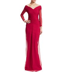 aytana ruched mesh gown