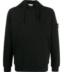stone island 62820 logo patch hoodie - black