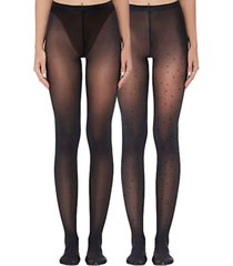 women's paris sheer and mini dot tights set, pack of 2
