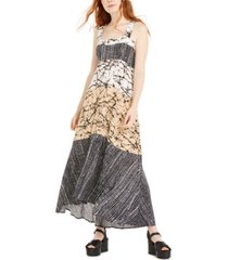 just hanging juniors' mixed-print maxi dress