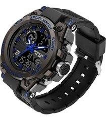 reloj deportivo hombre cuarzo militar lujo sanda 739 azul