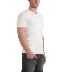 garage t-shirt v-neck semi bodyfit white ( art 0302)