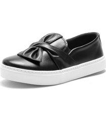 slip on iate sapatãªnis sapatilha feminina urbano sem cadarã§o confort - preto - feminino - sintã©tico - dafiti