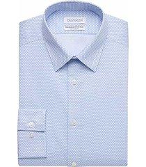 calvin klein men's blue mist print slim fit performance wicking dress shirt - size: 19 34/35