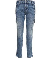 cargo denim london studs slimmade jeans blå please jeans