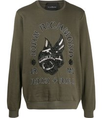 john richmond solitude beaded skull sweatshirt - green
