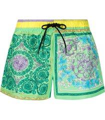 versace barocco-print swim shorts - purple