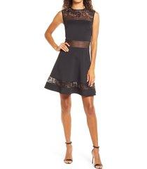 women's sho by tadashi shoji lace trim fit & flare dress, size 16 - black