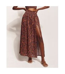 saia feminina hype beachwear longa estampada animal print onça com fenda caramelo