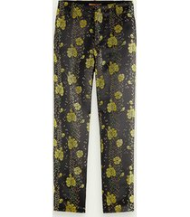 scotch & soda pantalon met bloemen in jacquard