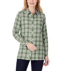 women's foxcroft santino plaid button-up tunic shirt, size 2 - green