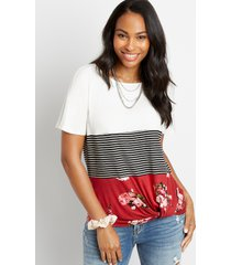 maurices womens 24/7 floral stripe block knot hem tee red