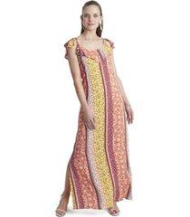 vestido largo con vuelos naranjo curvi