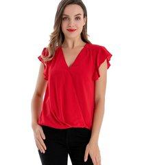 blusa escote cruzado rojo nicopoly