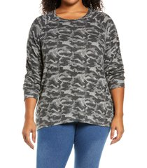 bobeau split back cozy pullover, size 1x in camo black at nordstrom