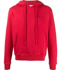 off-white arrow logo slim-fit hoodie - red